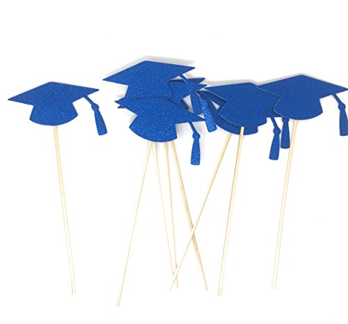Grad Hat Centerpiece Sticks DIY Graduation Decor Double Sided Glitter 8 Pack (Blue)]()