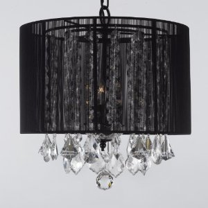 Crystal chandelier chandeliers with large black shade h15 x w15 crystal chandelier chandeliers with large black shade h15quot x w15quot swag plug in aloadofball Images