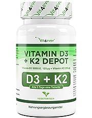 Vitamin D3 5000 I.E + Vitamin K2 200mcg Menaquinon MK7 Depot - 100 Tabletten - Alle 5 Tage eine Tablette - Vegetarische Tabletten - Vit4ever