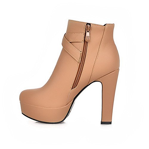 High with Toe Heels Toe apricot Womens Round AmoonyFashion Heels Closed Boots and Platform Rough nWX8wYaxg