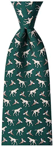 Alynn Novelty Green Silk Ties - Men's 100% Silk Pheasant Bird & Hunting Dog Novelty Tie Necktie (Green)