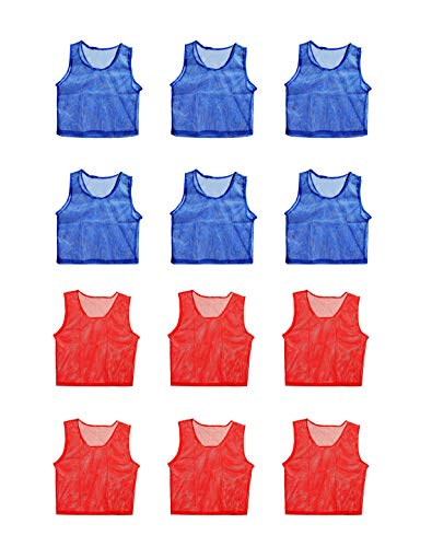 (FigureOut Sports Scrimmage Team Practice Nylon Mesh Vests Pinnies Jerseys Youth Children Soccer, Volleyball, Basketball, Football (12 Jerseys))