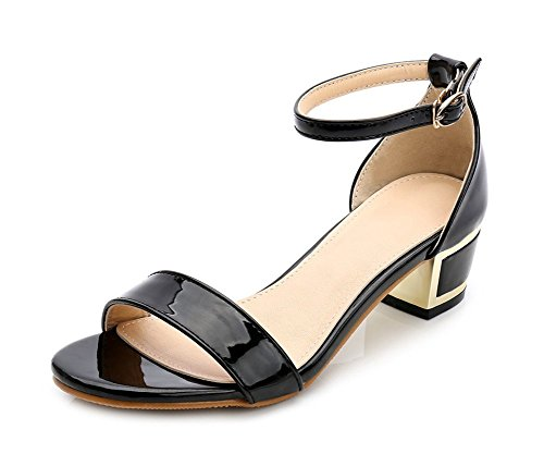 Easemax Womens Stylish Gladiator Open Toe Buckle Mid Chunky Heel Ankle Strap Sandals Black yeBBqCGAoM