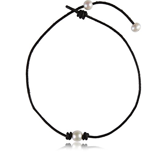 Barch Young Single White Pearl Choker Necklace Adjustable on Black Leather Cord with Pearl Extend Clasp (16