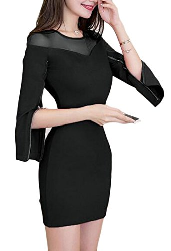 Women 3 Club 4 Sexy Mini Dresses Mesh Bodycon Black Jaycargogo Sleeve ZqCdwBtZ