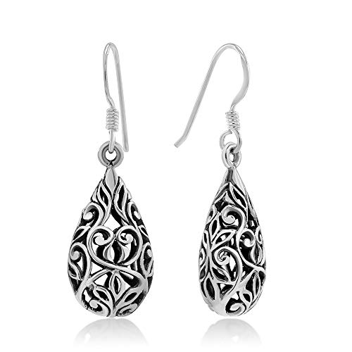 (925 Sterling Silver Bali Inspired Open Filigree Puffed Teardrop 1 inch Dangle Hook Earrings)