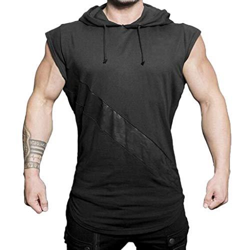 Mens Summer Vest,Tronet Men's Fashion Hoodie Stitching Printed Camouflage Sleeveless Vest