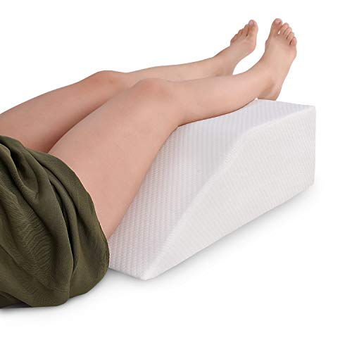 Abco Tech Elevating Leg Rest Memory Foam Pillow – Reduce Back Pain, Hip Pain & Knee Pain – Ideal for Sleeping, Reading, Rest or Elevation – Breathable & Washable Cover (8 Inch Wedge, White)