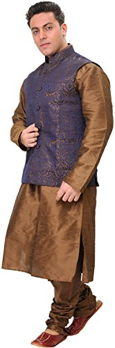 Exotic India Sepia-Colored Three Piece Wedding - Brown Size 42 by Exotic India