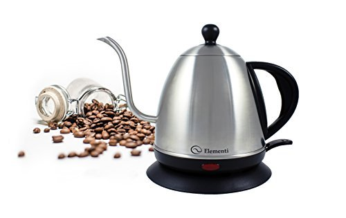 Elementi Premier Electric Gooseneck Kettle for Pour Over Coffee and Tea | 1.0 Liter Stainless Steel Drip Kettle (Teapot Drip)