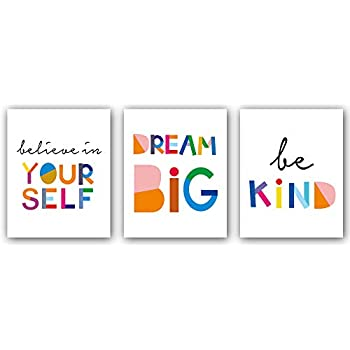 Watercolor Words Inspirational Quote Modern Minimalist Typography Art Print Set of 3 (8