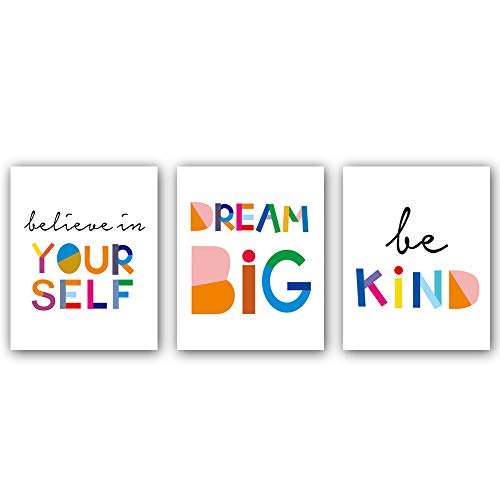 Art Poster Painting - Watercolor Words Inspirational Quote Modern Minimalist Typography Art Print Set of 3 (8