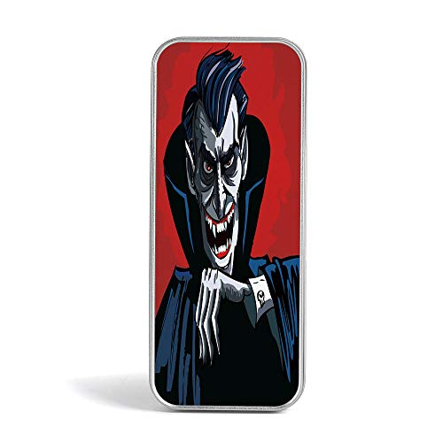 Tin Pencil Box,Vampire,Pen Case Organizer for School Office Home,Cartoon Cruel Old Man with Cape Sharp Teeth Evil Creepy Smile Halloween -