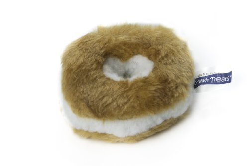 Copa Judaica Chewish Treat 4-Inch Diameter Bagel Cream Cheese Squeaker Plush Dog Toy, Small ()