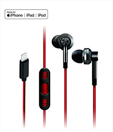 iDARS E305 Headphones, Apple MFi-Certified, In-Ear Lightning Earphone, Ergonomic Design Earbuds with Mic & Remote for iPhone 7, iPhone 7 Plus, iPhone 8, iPhone 8 Plus, iPhone X, (Red)