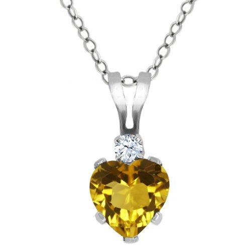 Citrine Topaz Necklace (0.49 Ct Heart Shape Yellow Citrine White Topaz 925 Sterling Silver Pendant)