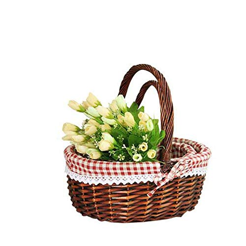 Wicker Basket Picnic Basket Gift Empty Oval Willow Woven Basket Easter Large Storage Wine Basket with -