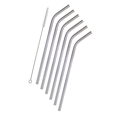 Stainless Steel Straws for Yeti Rtic 20 OZ Tumbler, Resuable Drinking Straws, Set of 6 + Cleaning Brush by Seatore