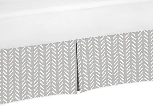 Sweet Jojo Designs Grey and White Boho Herringbone Arrow Pleated Queen Bed Skirt Dust Ruffle for Gray Woodland Forest Friends Collection