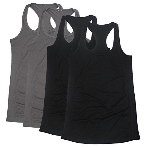 BollyQueena Nylon Tanks For Women, Women's Nursing Cami Black&Grey 4 Packs XL