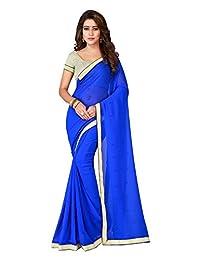 Shonaya Women's Party Wear Patch Work Saree With Unstitched Blouse Piece (Blue)