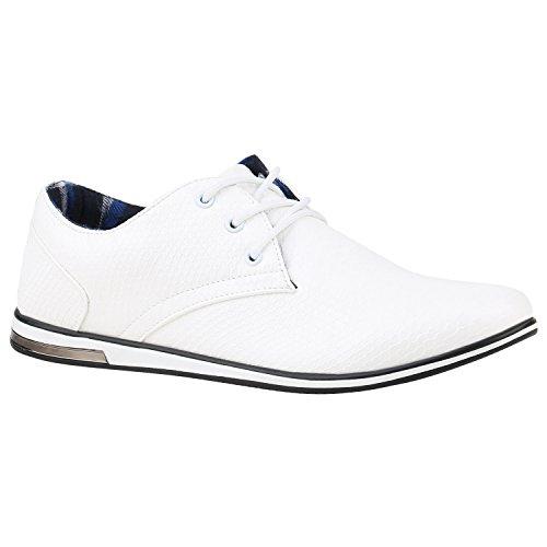 Stiefelparadies Herren Sneakers Gesteppt Denim Sportschuhe Sneaker Low Turnschuhe Schnürer Freizeit Schuhe Leder-Optik Flandell Weiss Cabanas