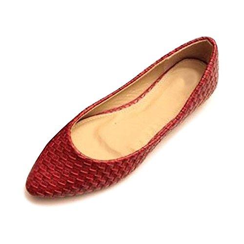 PU Básica Mujer Zapatos Rojo Ocasional Bailarinas Chica OCHENTA Plano qPEIwA5
