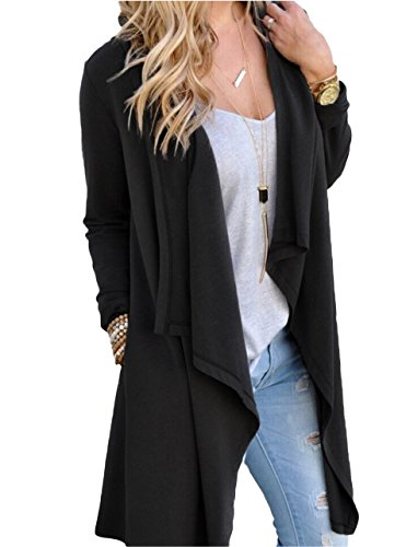 Tankoo Women's Long Sleeve Open Front Lightweight Maxi Hooded Duster Cardigan Black - Knit Cardigan Black