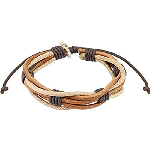Brown Multi String Leather Bracelet with Drawstrings, Adjustable Size by Sliding Tie-Knot Closure and One Size Fits Most (Extends upto 10