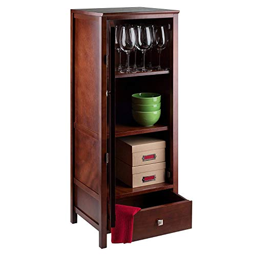Tall Wooden Pantry Cupboard Storage Cabinet with Door and Adjustable Shelf, Free Standing Wood Organizer, Multipurpose Display Storage Furniture, Brown Accent Storage Cabinet for Kitchen Dining ()