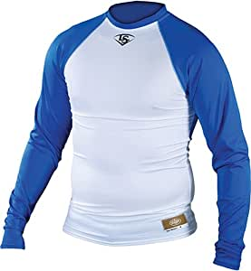 Louisville Slugger Youth Slugger Compression-Fit Long-Sleeve Shirt, White/Royal