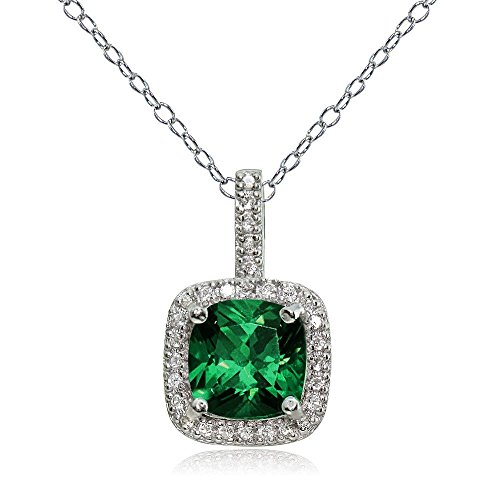Sterling Gemstone Birthstone Cushion Cut Necklace product image