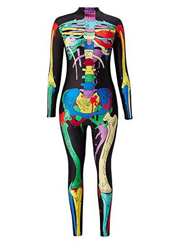 Uideazone Womens Colorful Skeleton 3D Printing Jumpsuits Long Sleeve Bodycon Fitness Bodysuit