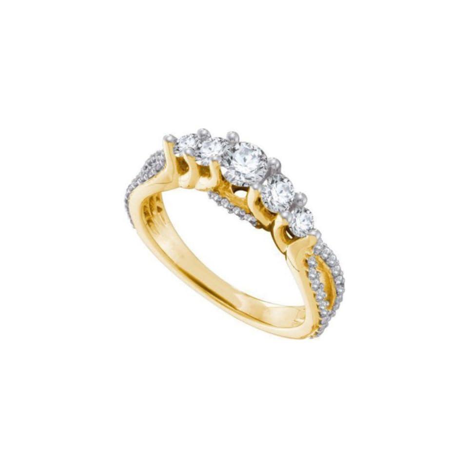 1 cttw 14k Yellow Gold Diamond Five Stone Round Brilliant Cut Diamond Engagement Ring (Real Diamonds 1 cttw, Ring Sizes 4 10) Jewelry