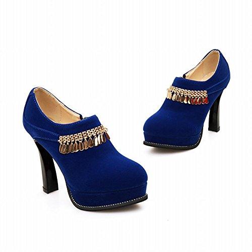 Carol Skor Sexig Kvinna Elegans Chians Hängande Dragkedja Plattform Hög Klack Fotled Klänning Boots Blue