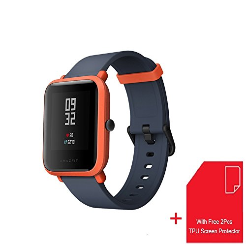 [With Free Screen Protector] Amazfit Bip Smartwatch Xiaomi Huami GPS Real-time Heart Rate Monitor Bluetooth Sports Watch [32g Ultra Light] [IP68] [45-days Standby] English Version (Cinnabar Red)