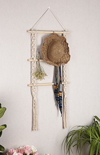 """RISEON Boho Rustic Wood Macrame Floating Hanging Wall Display Shelf Organizer Hanger - Showcase your style with this rustic-chic floating shelves. Decorative and functional. Product dimensions: 39""""L x 19.6""""W Material: Made of cotton cord and beech wood - wall-shelves, living-room-furniture, living-room - 41mLjfaAmKL -"""