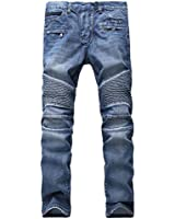 Aiyino Men's Ripped Slim Straight Fit Biker...