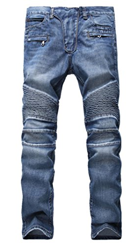 Aiyino Men's Ripped Slim Straight Fit Biker Jeans With Zipper,US 34,Blue