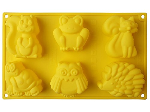 New Arrival 6-Cavity Cartoon Animal Silicone Cake Mold 3D Frog Kangaroo Turtle Hedgehog DIY Baking Mould Cupcake Decorating Tools (Color: Sent by (Homemade Halloween Makeup Zombie)