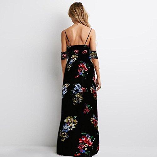 Vestido largo Amlaiworld Mujeres V cuello vestido de gasa de impresión floral Negro