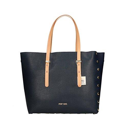 Vacch in véritable Bleu Bags Cm main Saffiano Made femme en Italy Sac Bleu Impression à 34x31x15 POP cuir gwAq4Tnq
