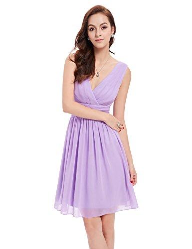 03989 Party Doppelt Kleid Damen V Rueschen Taille an Hellviolett Ausschnitt Elfenbein Kurz Ever Pretty Sq47wCT