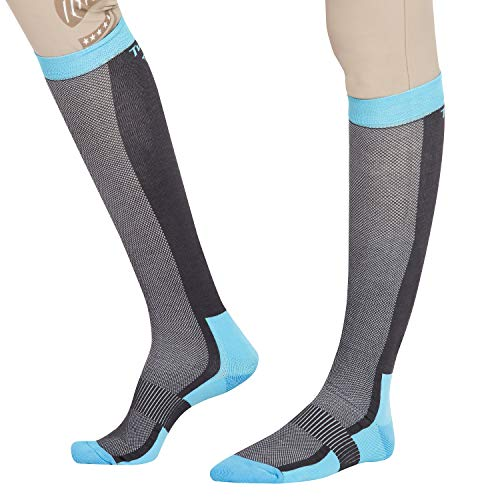 TuffRider Ventilated Neon Knee Hi Socks | Color - Charcoal/NeonBlue | Size - Standard