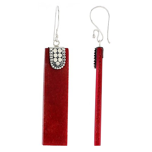 Sterling Silver Natural Coral Rectangular Shape Dangle Earrings 1 5/8 inches long