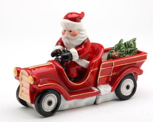 Cosmos Santa on Firetruck Salt and Pepper Set, 6-1/2-Inch Long