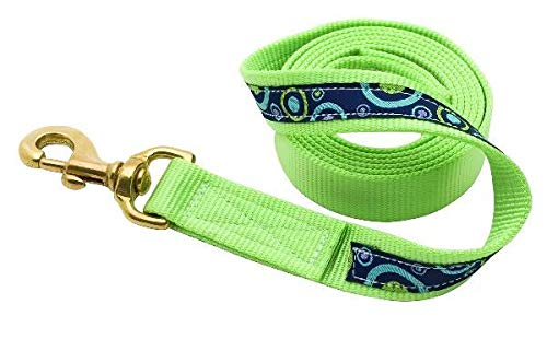 (Perri's Ribbon Lead with Snap, Celery Circles, 6-Feet)