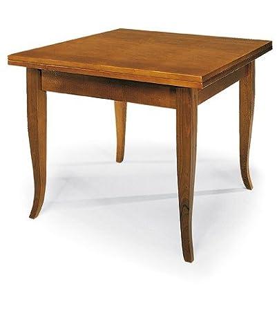Tavolo Quadrato Classico.Lo Scrigno Arredamenti Tavolo Quadrato Allungabile A Libro Classico 80 160 W140 Na