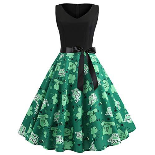 St. Patrick's Day Dress for Women Sleeveless Dress V Neck Shamrocks Clover Elegant Pleated Flared Dress for Women (Green, M)