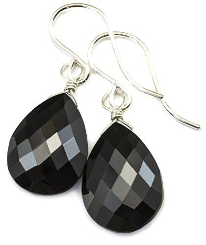 Sterling Silver Spinel Earrings Black Faceted Teardrop Dangle Style Tear (Designer Spinel Earrings)